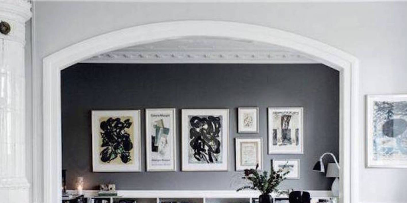Black feature wall home design for Black feature wall living room
