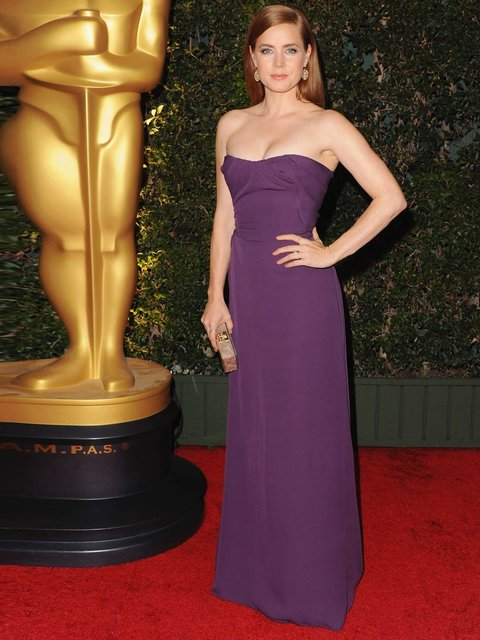 Amy Adams wears a Vivienne Westwood gown and Edie Parker clutch at the Academy of Motion Picture Arts and Sciences Governors Awards in Hollywood, 2013.