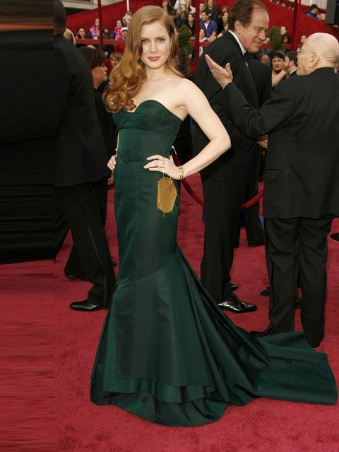 Amy Adams in Proenza Schouler gown with a Fred Leighton bag at the 80th Annual Academy Awards, February 2008, Los Angeles.