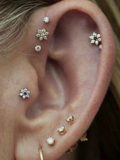 many ear piercings