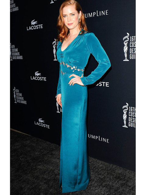 Amy Adams wears a Kristin Burke dress to the 16th Annual Costume Designers Guild Awards.