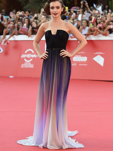 Lily Collins wearing Elie Saab to the Love, Rosie premiere during the Rome Film Festival, 19 October 2014.