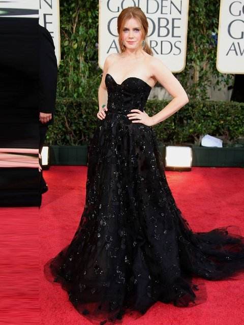 Amy Adams wore a strapless Oscar de la Renta gown to the 66th Annual Golden Globe Awards, January 2009, Beverly Hills.