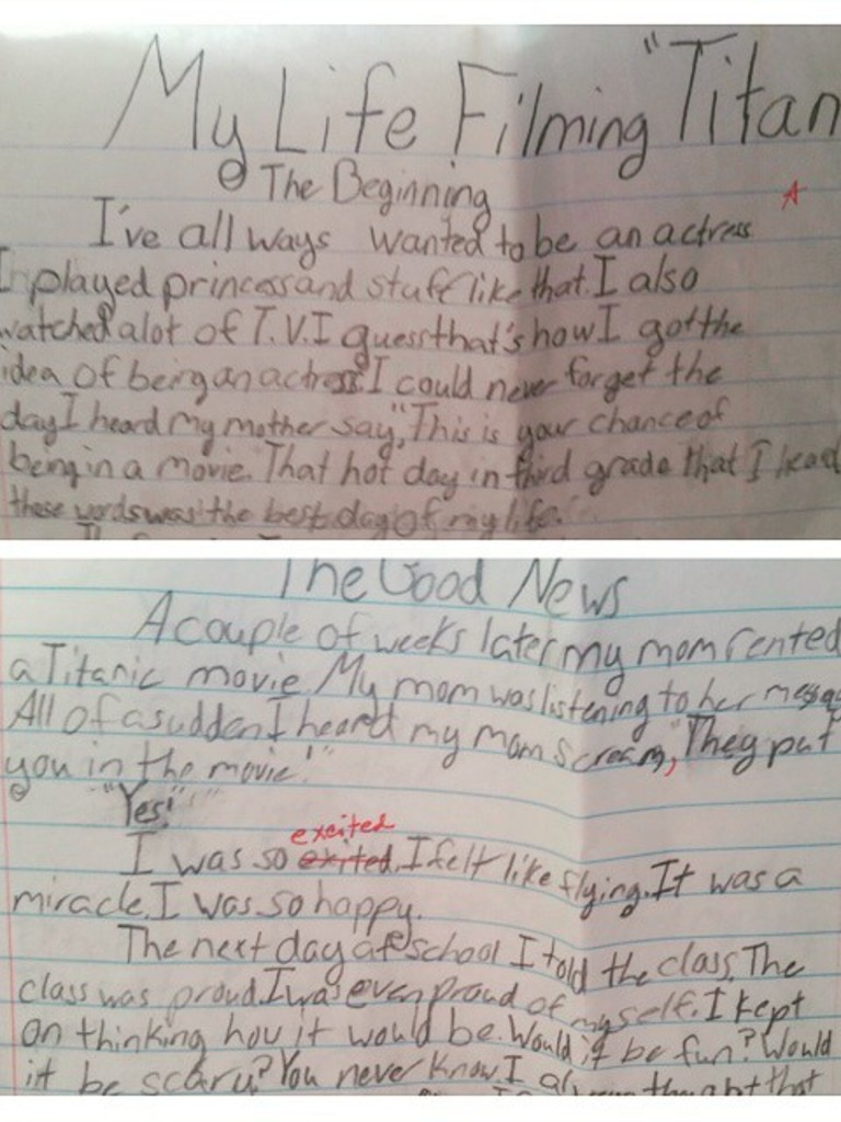 remember the little girl from titanic she s still persuing an acting career and recently posted a photo of the most adorable childhood essay that she wrote about her life filming titanic