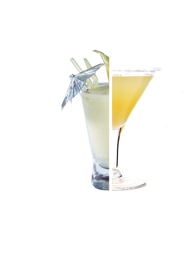 Pina Colada vs MargaritaPina Colada: Up to 500 calories for a large cocktail glass with 17 grams of fatMargarita: 160 calories for a cocktail with 0.8 grams of fatCalories