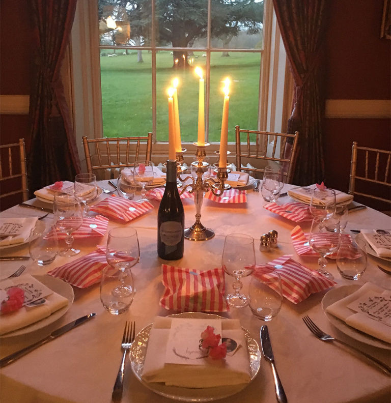 Sibton Park, Wilderness Reserve, the table laid for 30th birthday dinner