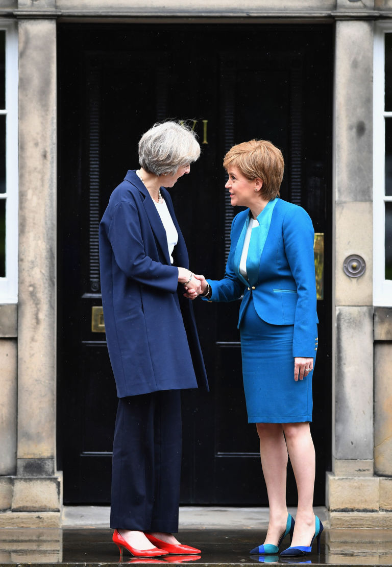 Theresa May and Nicola Sturgeon on the steps on Bute House
