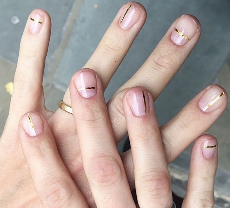 16 stunning minimalist nail art ideas to try gold lines nails 23 february 2017 prinsesfo Gallery