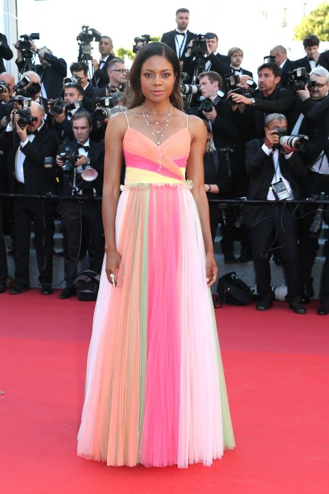 Naomie Harris wears Gucci at the 'Ismael's Ghosts' screening and Opening Gala wearing this fizzy-sherbert inspired Gucci tulle dress.