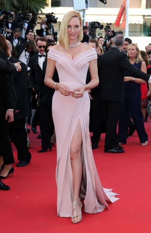 Uma Thurman attends the 'Ismael's Ghosts' screening and Opening Gala during the 70th annual Cannes Film Festival at Palais des Festivals on May 17, 2017
