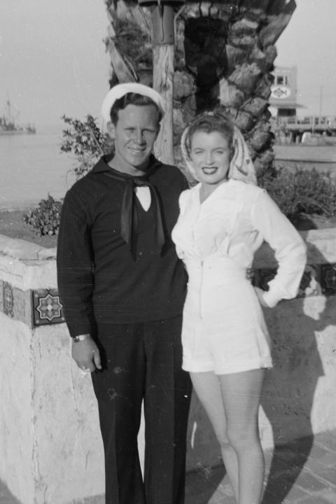 Dougherty and Monroe on Catalina Island, where he was stationed for boot camp. They divorced in 1946.