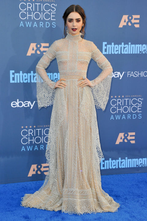 Lily Collins wore an Elie Saab couture gown to the 2017 Critics Choice Awards.