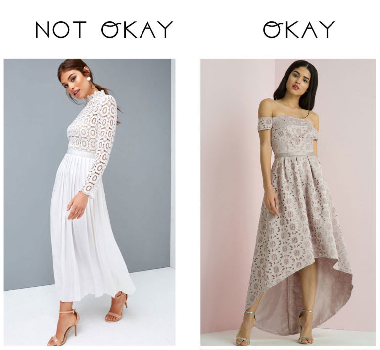 May Turn Up To Find The Bride Wearing A Similar White Skirt Jumpsuit Or Even Mini Dress You Prints Are Fine But Anything In Block Bridal Colour