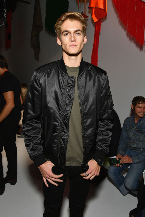 Presley Walker Gerber attends the Calvin Klein Collection SS/18 show at NYFW to see his little sister Kaia's first catwalk