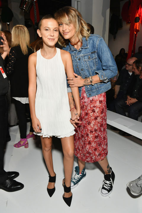 Millie Bobby Brown and Paris Jackson attend the Calvin Klein Collection SS/18 show at NYFW