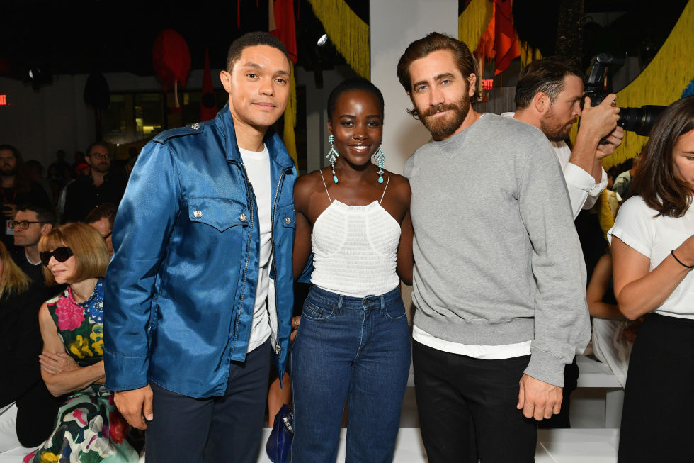 Trevor Noah, Lupita Nyong'o and Jake Gyllenhaal attend the Calvin Klein Collection SS/18 show at NYFW