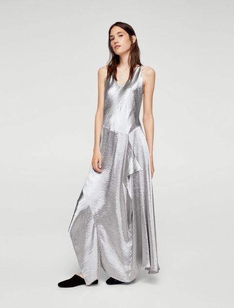 Ruffle metallic dress with drop waist - £79.99