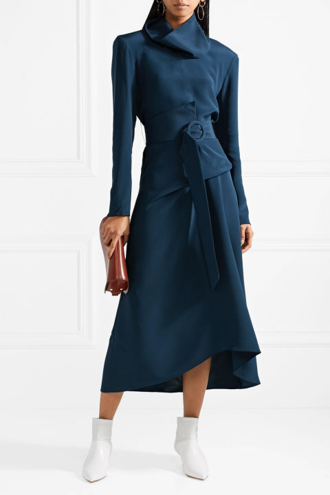 Convertible belted silk crepe dress - £1,295