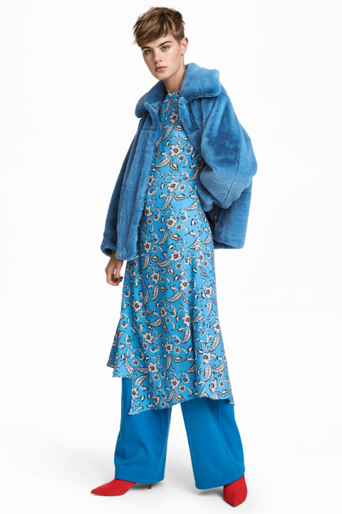 Blue patterned long-sleeved dress - £49.99