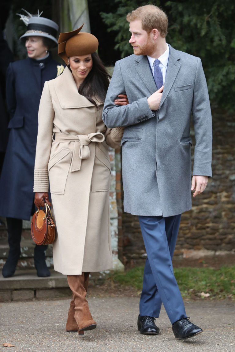 Prince Harry Meghan Markle at church christmas day sandringham